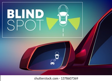 Blind spot assist cartoon concept. Danger warning alert visual signal icon in car rear view mirror. Radar sensor for road situation monitor. Modern vehicle safety, crash prevention technology