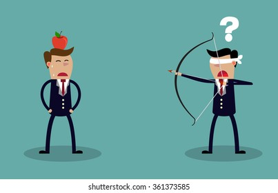 Blindfold businessman executive holding bow and arrow aiming to shoot at apple on another mans head. Business risk concept. illustration Raster version
