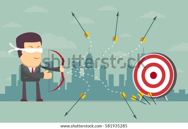 Blindfold businessman - loser shooting arrow . Stock illustration