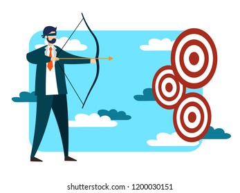 Blindfolded businessman trying to hit target or achive goal. Business success metaphor in flat style. Cartoon raster illustration
