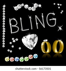 Bling Diamonds and Gold Rings, See Also Vector In My Portfolio