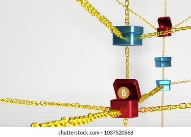 block chain 3d render concept