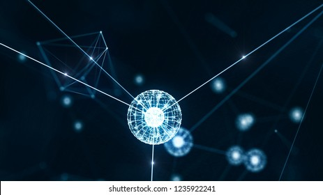 Block chain concept. Abstract patterns of distribution of information to everyone on the network. As a chain of connected information with everyone on the network safely.