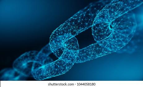 Blockkettenkonzept - Kette besteht aus Netzwerkverbindungen . 3D-Rendering