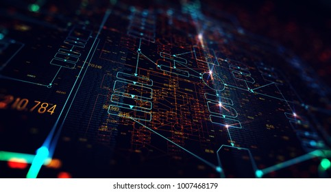 Block chain network concept , Distributed register technology , Block chain text and computer connection with blue background. 3D Rendering/Block chain network