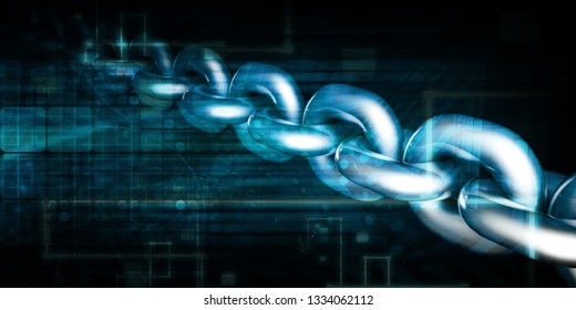 Block Chain Security Abstract Background Concept Art 3D Render