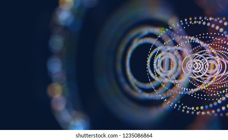 Block chain and technology abstract concept.Polygonal pattern with dots and lines.Science and computer learning background.3d illustration
