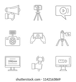 Blockbuster icons set. Outline set of 9 blockbuster icons for web isolated on white background