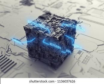 Blockchain cryptocurrency decentralized database 3D illustration concept
