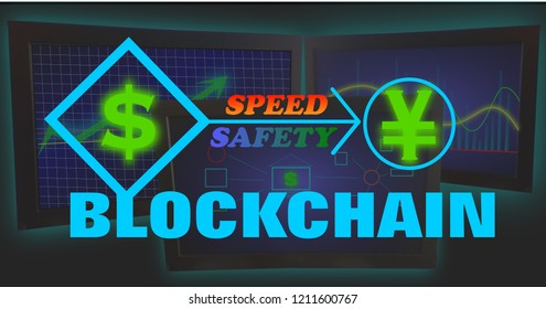Blockchain Crytocurrency International Finance Exchange Illustration