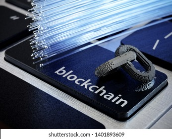 Blockchain digital chain with blocks connection shape. Big data box node base concept. New technology concept. Blockchain chain icon on computer laptop keyboard button. 3d rendering illustration
