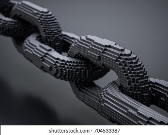 Blockchain digital chain with blocks connection shape. Big data box node base concept. 3d rendering illustration
