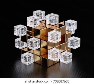 Blockchain digital illuminated shape transparent glass blocks boxes combines with golden big one. Big data node base concept. 3d rendering illustration