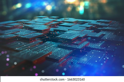 Blockchain, high-tech background and information clusters. Bigdata concept of digital cyberspace. Quantum Architecture 3D Illustration