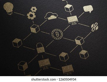 Blockchain Illustration, Golden Embossed on Black Carton Paper, Symbols, Blocks, Chain, Computers, Lock, Process, Function, Infographic