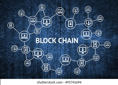 Blockchain network concept , Distributed ledger technology , Block chain text and computer connection with blue matrix coded background