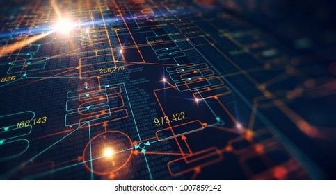 Blockchain network concept , Distributed register technology , Block chain text and computer connection with optical flares background. 3D Rendering/Block chain network