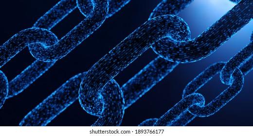 Blockchain security digital technology fintech encrypted concept. 3D rendered illustration.