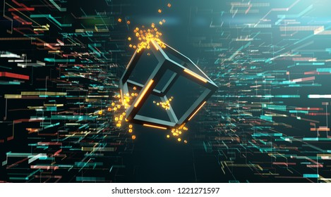 Blockchain Technology, Block disperse into small cubes on a digital data background - 3D Rendering