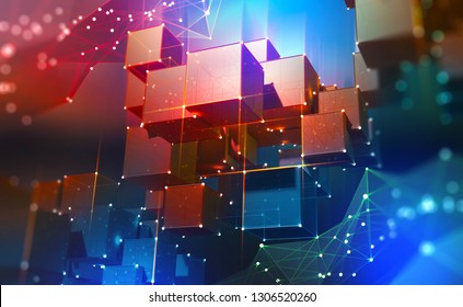 Blockchain Technology. Blocks of information in a decentralized cyberspace. Global flows of information. Digital data protection. 3d illustration of cubes with a polygonal mesh.
