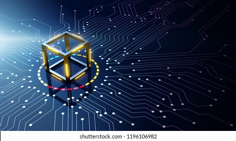 Blockchain technology concept on circuit board - 3D Rendering