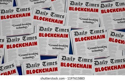 Blockchain Technology Digital Innovation Newspaper Headlines 3d Illustration
