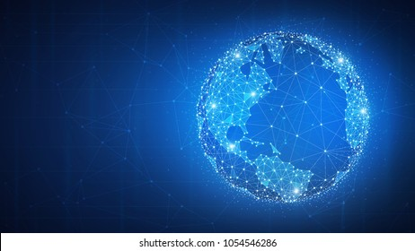Blockchain technology futuristic hud background with world globe and blockchain polygon peer to peer network. Global cryptocurrency fintech business banner concept.