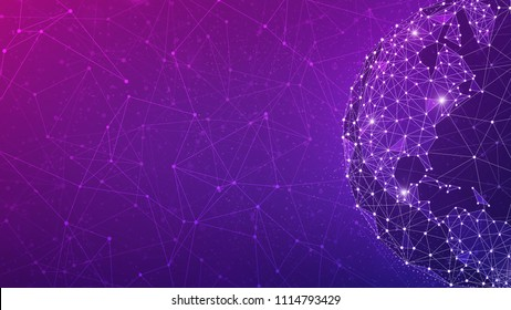 Blockchain technology futuristic hud ultraviolet background with world globe and blockchain polygon peer to peer network. Global cryptocurrency block chain violet business banner concept - copy space.