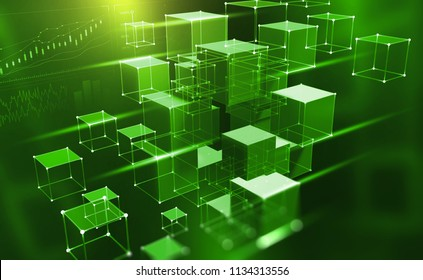 Blockchain technology. Information blocks in cyberspace. Decentralized network. 3D illustration on a technological background