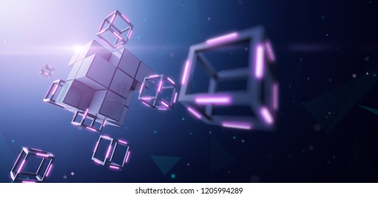Blockchain Technology, Large block dismantles in to small cube - 3D Rendering
