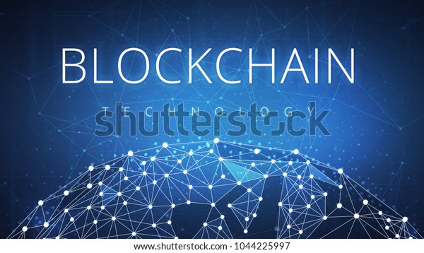 Blockchain technology on futuristic hud background with glowing polygon world globe and blockchain peer to peer network. Global cryptocurrency blockchain business banner concept.