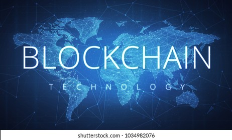 Blockchain technology wording on futuristic hud background with polygon world map and blockchain peer to peer network. Network, e-business and global cryptocurrency blockchain business banner concept.