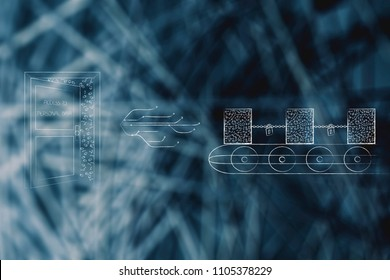 blockchains for better data security conceptual illustration: open door with access to personal data next to internet connection line and blockchain on production line