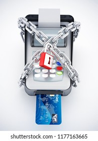 blocking credit card or pos machine 3d rendering