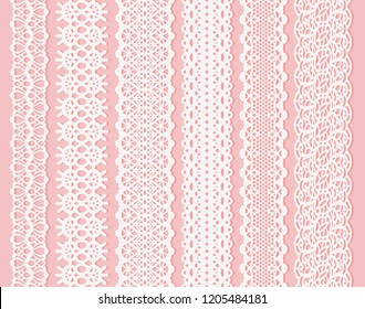 Blockprint wide lace ribbon set. White Design Elements Isolated on Pink Background Seamless pattern suitable for laser cutting paper or wood, to create wedding invitation and card. Rasterized version