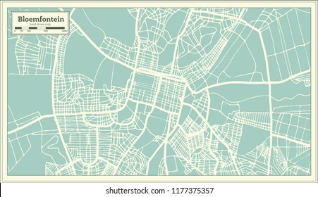 Bloemfontein South Africa City Map in Retro Style. Outline Map.