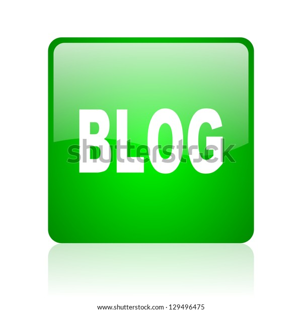 blog green square web icon on white background