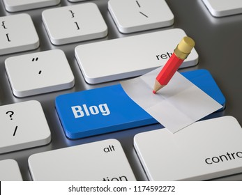 Blog key on the keyboard, 3d rendering,conceptual image.