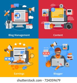 Blogging flat 2x2 icons set with blogger blog management content and earrings on colorful backgrounds isolated  illustration
