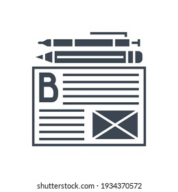 Blogging Related Glyph Icon. Isolated on White Background. Illustration.