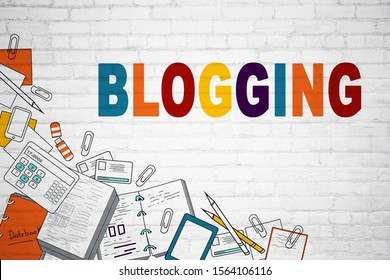 Blogging and web concept. Creative business sketch on white brick wall background, 3D Rendering