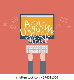 blogging and writing for website, email. illustration, flat design style with trendy icons, raster version