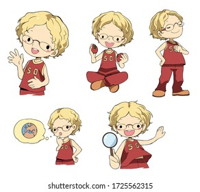 Blond protagonist with glasses. A set of different illustrations.