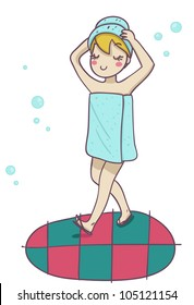 A blond woman after the shower. Funny cartoon illustration