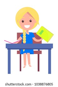 Blonde girl with textbooks sits at deskisolated on white background.  illustration of begginer on 1st of September, back to school concept