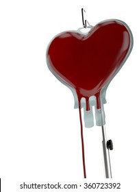 Blood Bag Heart Shape on White Background. Blood Donation Concept