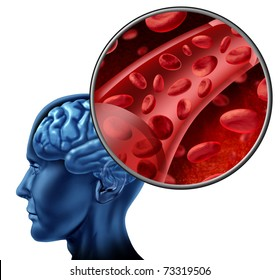 Blood cells in the brain flowing through veins and human circulatory system representing a medical health care symbol relating to stroke or circulation issues.