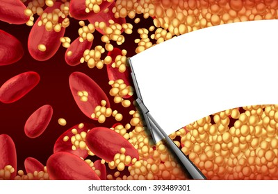 Blood cleansing a clogged artery with a wiper cleaning cholesterol plaque as an arteriosclerosis health risk therapy and cardiovascular treatment concept.