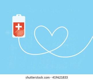 Ein Blutspendebeutel mit Röhrchen in Herzform.