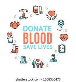 Blood Donation Concept Round Design Template with Thin Line Icon and Text. illustration of Save Lives